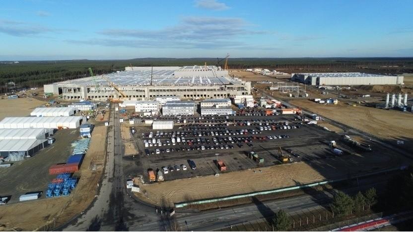 Baustelle des Tesla-Werks in Grünheide bei Berlin