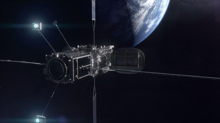 Künstlerische Darstellung eines Satelliten mit angedocktem MEV