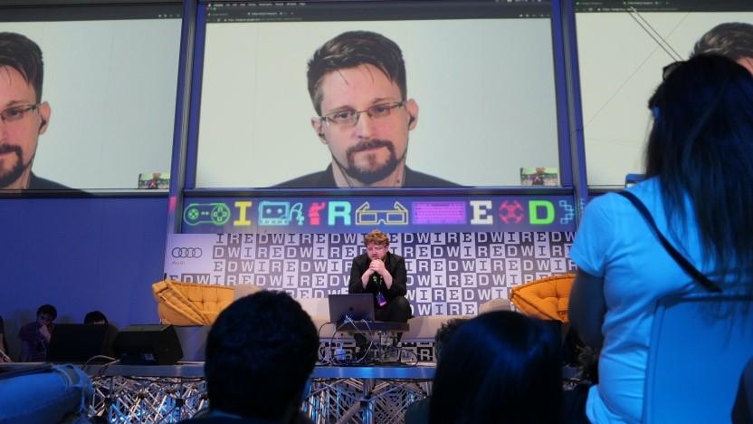 Edward Snowden im Jahr 2019 bei einer Konferenz.
