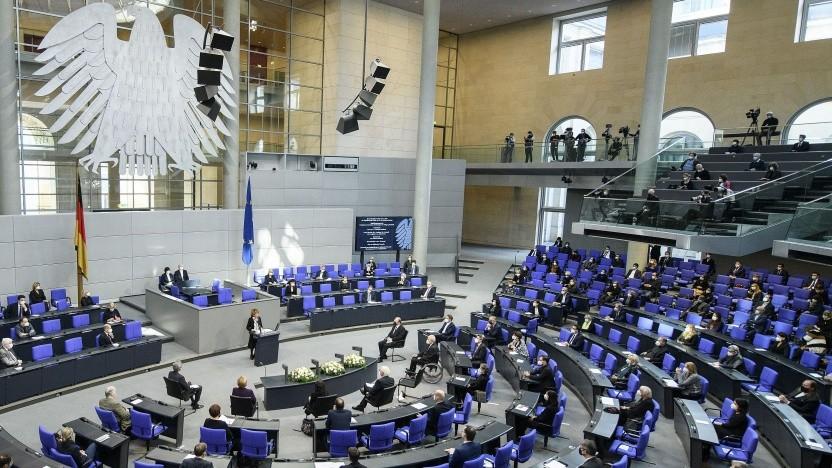Blick in den Plenarsaal am 27. Januar 2021