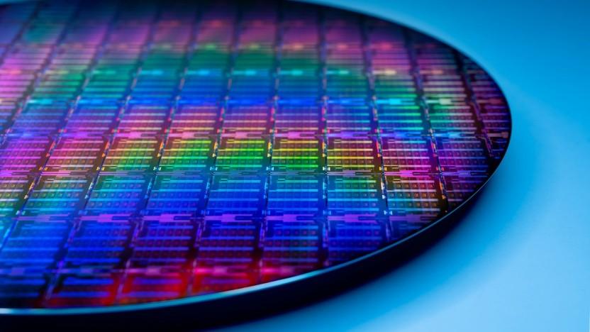 Ein Wafer mit Ice-Lake-SP-Xeon-Chips