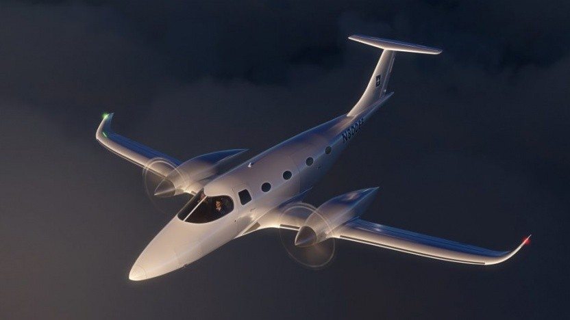 Konzept des zweimotorigen Flugzeugs eFlyer 800