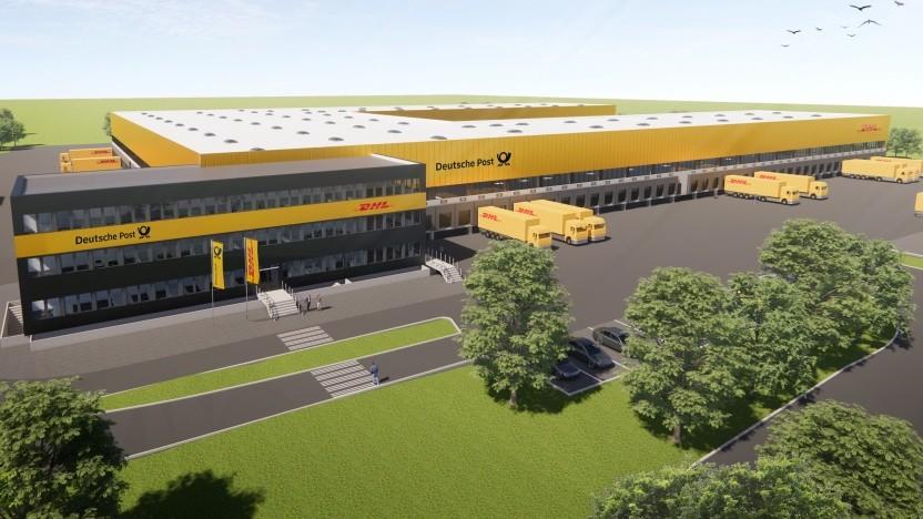 Grafik des ausgebauten Megazentrums der DHL