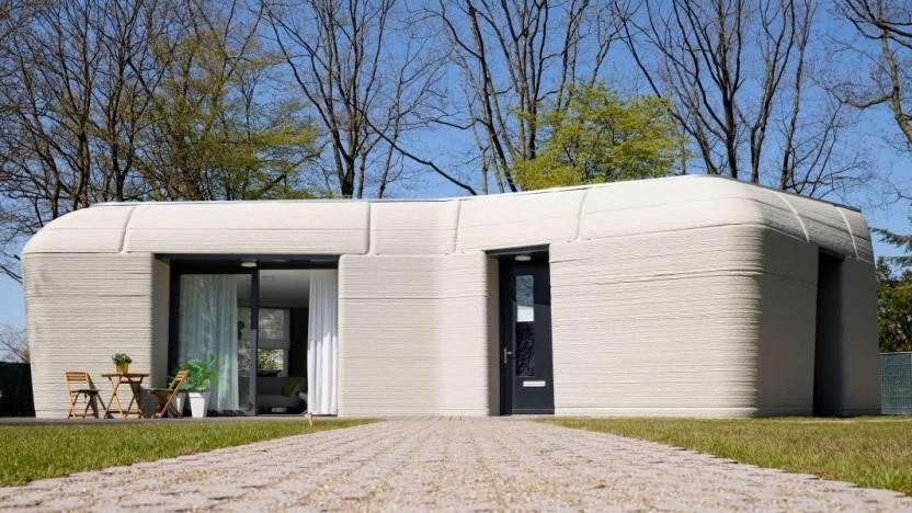 Das Haus aus dem 3D-Drucker ist ungewöhnlich geformt.