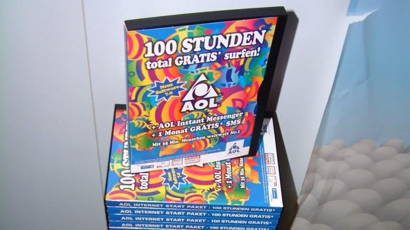 AOL-CDs in einem Studentenwohnheim im Jahr 2002