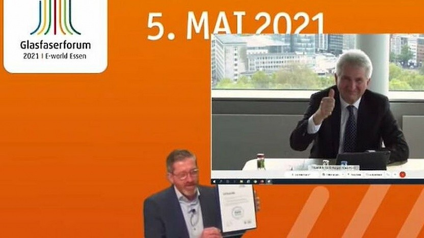 NRW-Wirtschaftsminister Andreas Pinkwart (FDP) und Breko-Geschäftsführer in der Konferenz