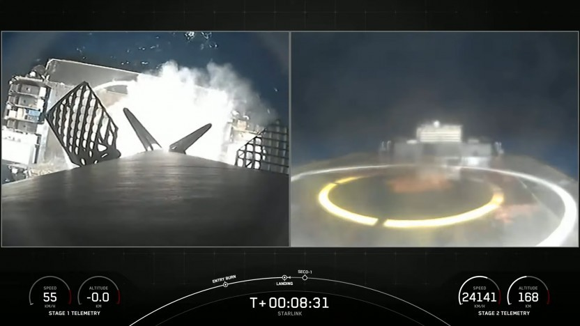 Raketenstufe B1051 bei der zehnten Landung