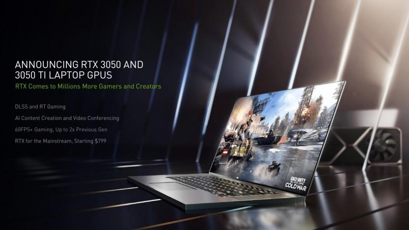 Artwork eines Laptops mit Geforce RTX 3050 (Ti)