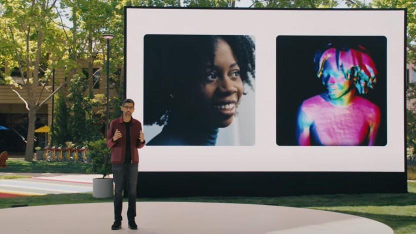 Google-Chef Sundar Pichai stellt Project Starline vor.