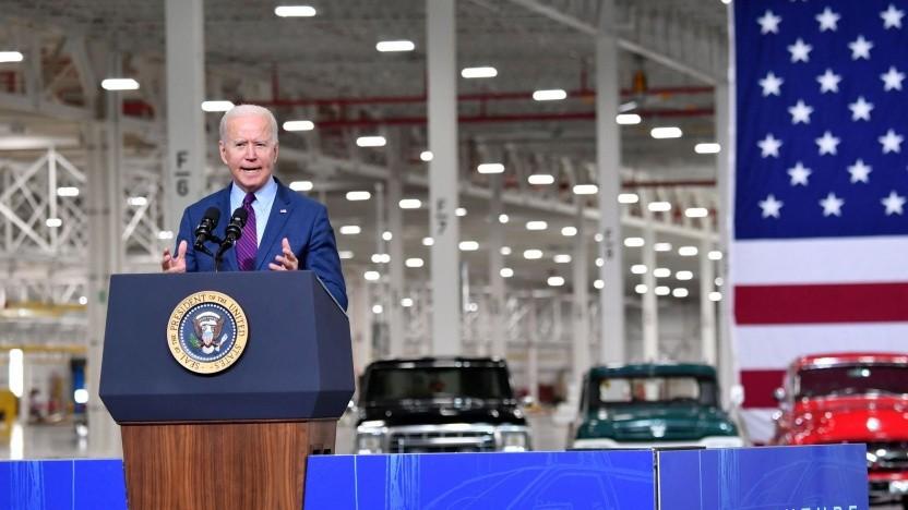 """Joe Biden bei Ford (am 18. Mai 2021): """"Wir müssen uns schnell bewegen."""""""