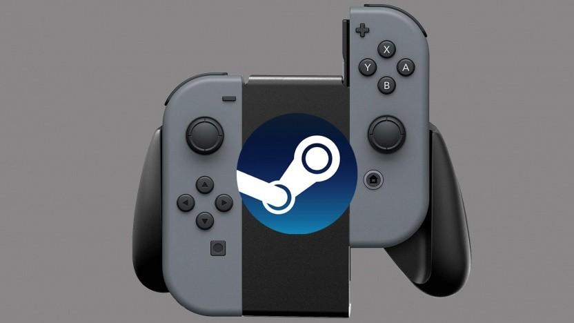 Nintendo-Switch-Controller mit Steam-Logo