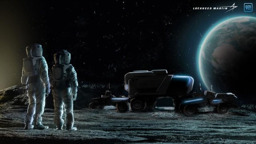 Künstlerische Darstellung einer menschlichen Präsenz auf dem Mond: Das Fahrzeug wartet am Landeplatz auf die Astronauten.
