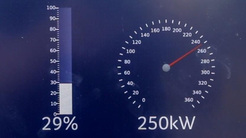 Anzeige auf einer Ladesäule (Symbolbild): XFC-Akkus sollen 2024 marktreif sein.