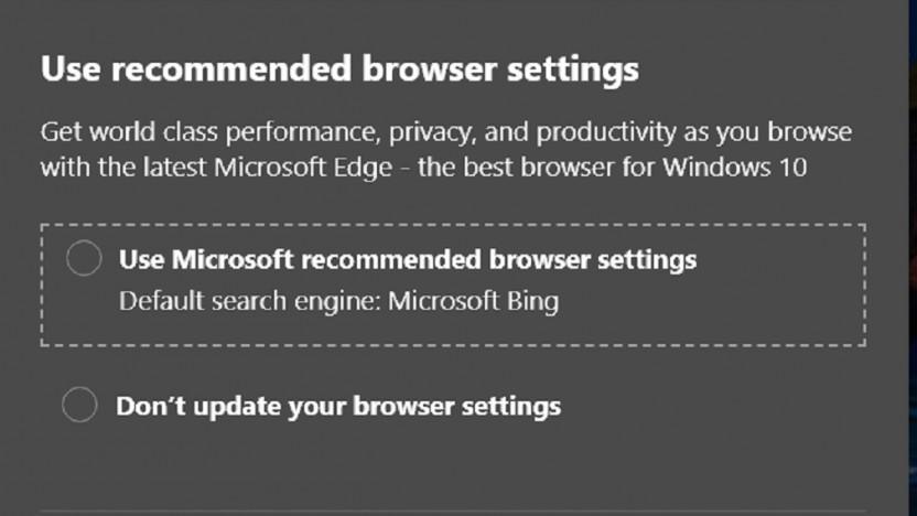 Microsoft empfiehlt mittels Pop-ups Bing als Standardsuchmaschine.
