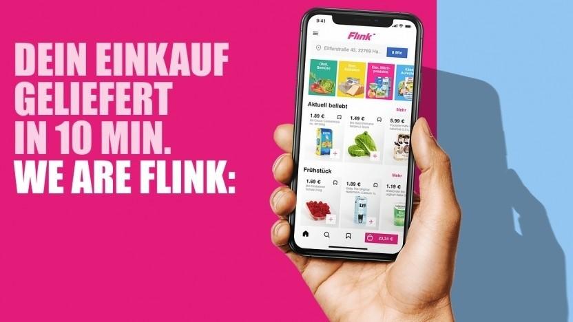 Flink liefert Produkte von Rewe aus.