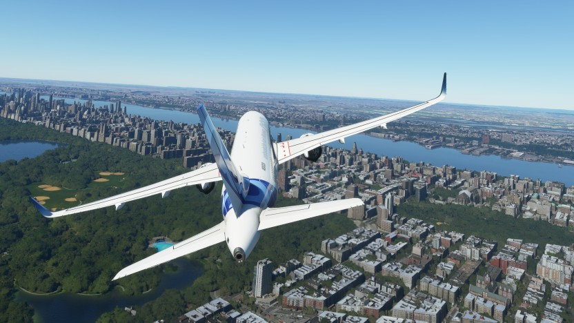 Szene aus dem Flight Simulator über New York City