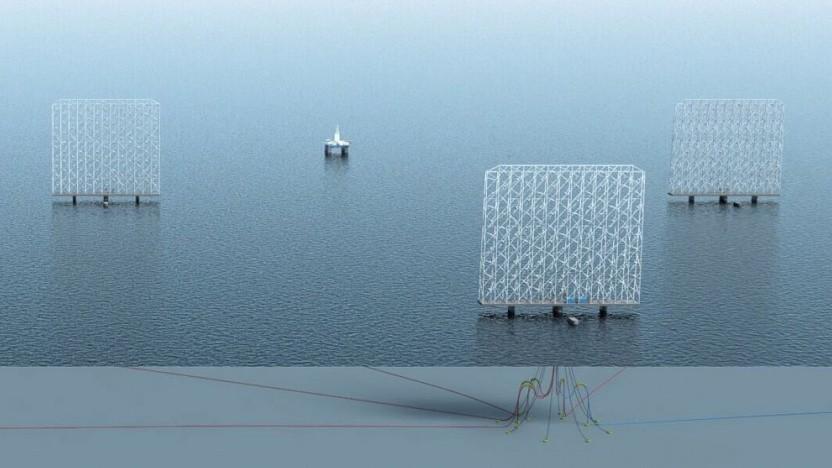 Künstlerische Darstellung eines Offshore-Windparks mit Windcatchern