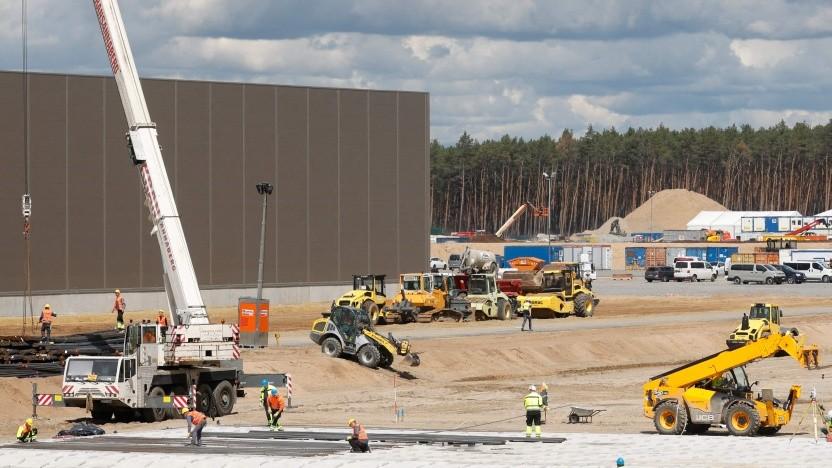 Die Baustelle der Gigafactory im Mai 2021