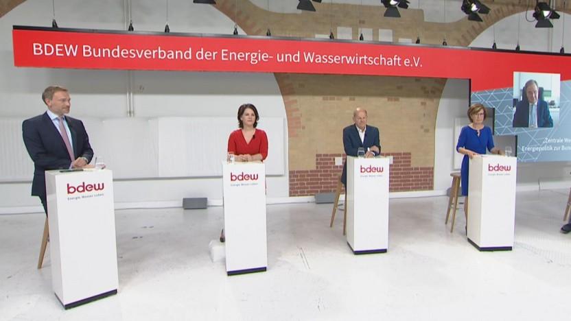 Spitzengespräch zur Energiepolitik: Christian Lindner, Annalena Baerbock, Olaf Scholz, Marie-Luise Wolff  und Armin Laschet (vlnr)