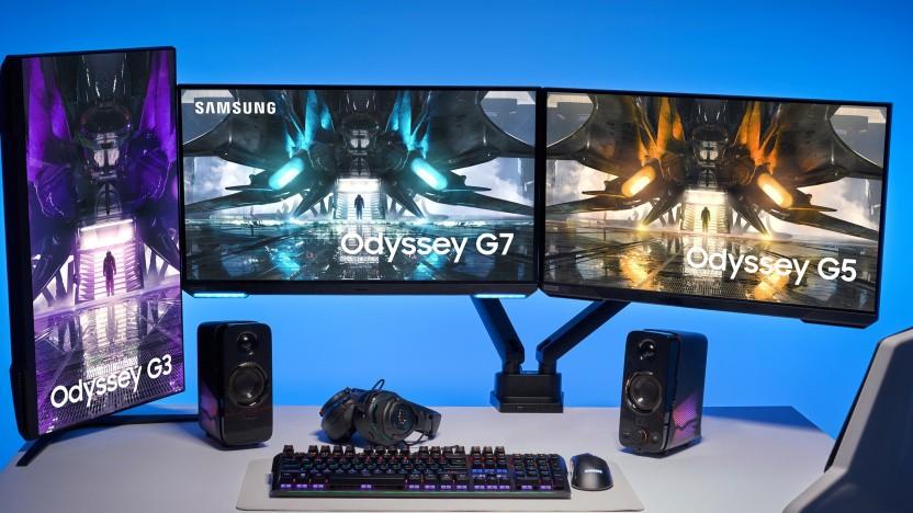 Die Odyssey-Monitore können um 90 Grad gedreht werden.