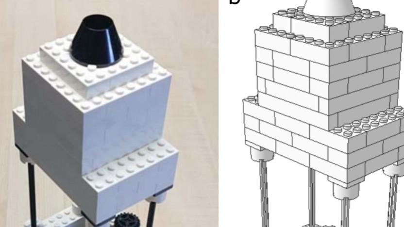 Das Lego-Mikroskop besteht zum Teil aus simplen System-Steinen.