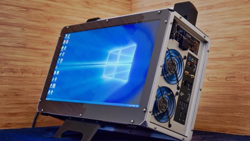 Der Koffer-PC hat ein integriertes Display.
