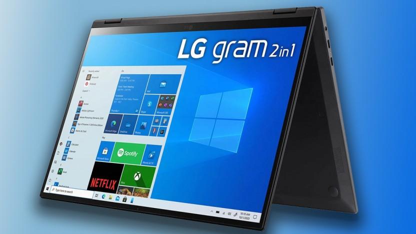 Das Gram 16 2-in-1 kommt mit 360-Grad-Scharnier.