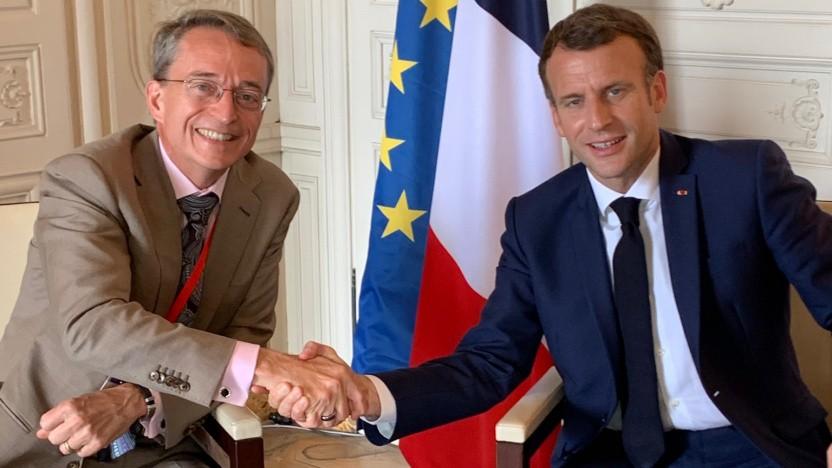 Intel-CEO Pat Gelsinger mit Frankreichs Präsident Emmanuel Macron