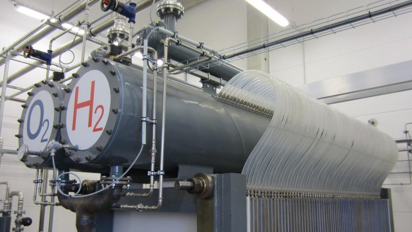 In Prenzlau wird grüner Wasserstoff mit Hilfe von Windkraft hergestellt, doch noch ist das teurer als die fossile Wasserstoffproduktion.