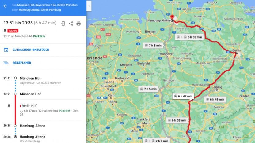 Google Maps zeigt Zugverbindungen in Echtzeit.