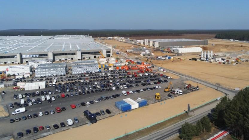 Baustelle der Gigafactory in Grünheide: Produktionsstart im vierten Quartal 2021 scheint möglich.
