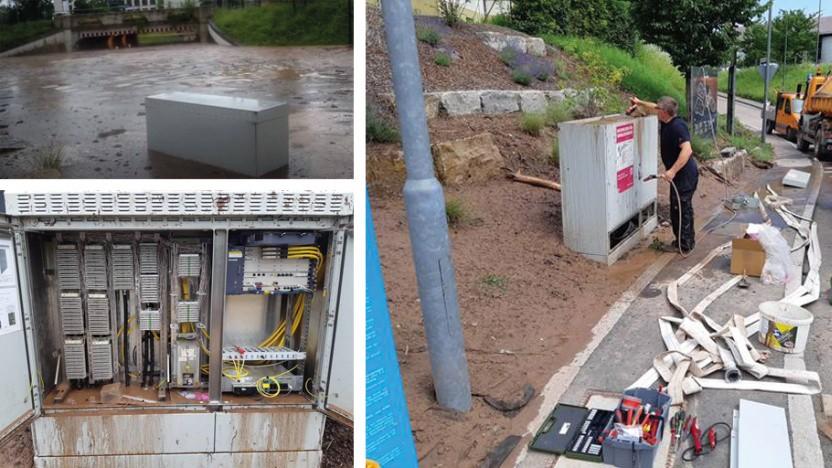 Telekom: Hochwasser zerstört Multifunktionsgehäuse.