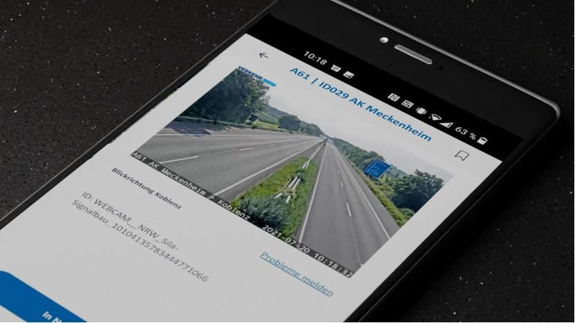 Die vernetzte Webcam zeigt die nach den Hochwasserschäden gesperrte Autobahn 61 bei Meckenheim.