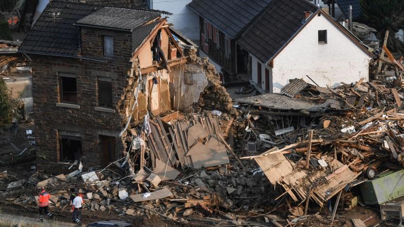 Ein zerstörtes Haus am 19. Juli 2021 in Altenburg, Rheinland-Pfalz.