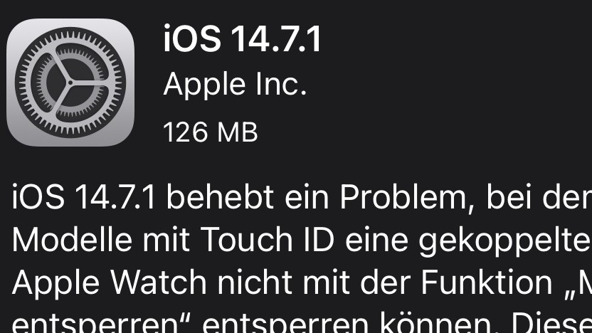 Update auf iOS 14.7.1
