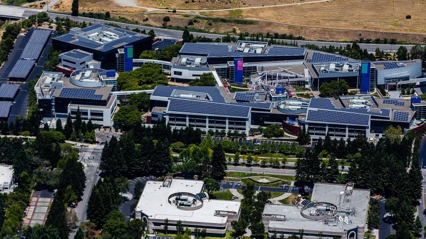 Luftbild der Googleplex-Kerngebäude