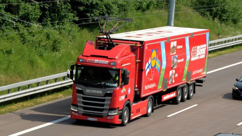 O-Lkw auf der Teststrecke in Schleswig-Holstein (Symbolbild): Kosten sollen sich in 15 Jahren amortisieren.