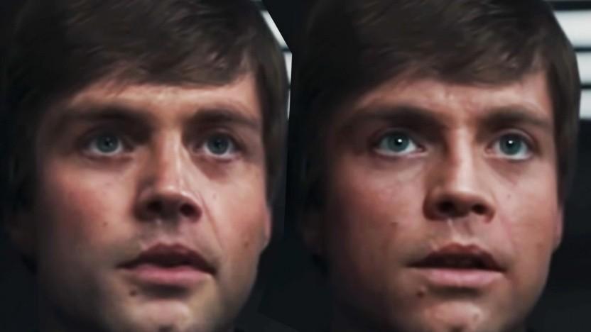 Links: die Originalfigur von Lucasfilm, rechts: Shamooks Deep Fake von Luke Skywalker