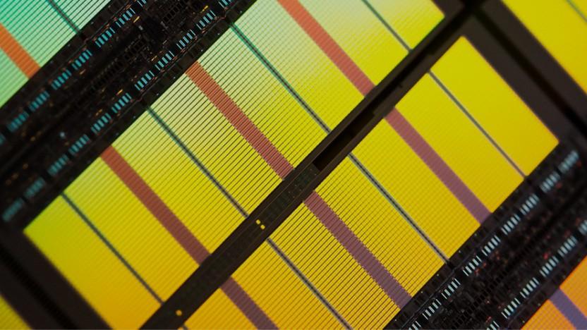 DRAM-Chips auf einem Wafer