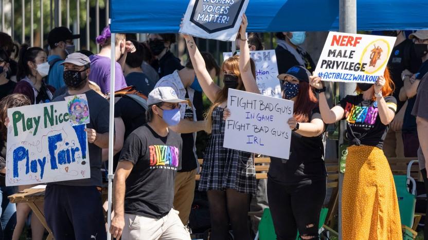 Mitarbeiter von Blizzard bei einer Demonstration in Irvine am 28. Juli 2021