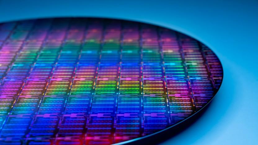 Ein Wafer mit Ice-Lake-Xeon-Chips