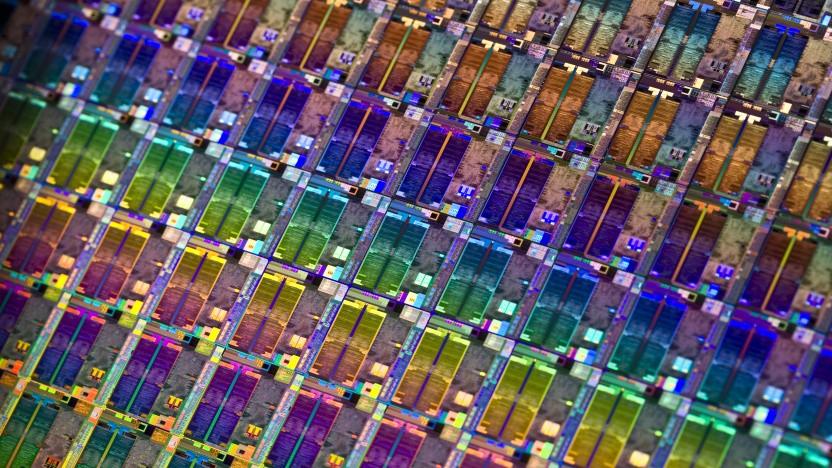Ein Wafer mit Quadcore-Atom-Chips