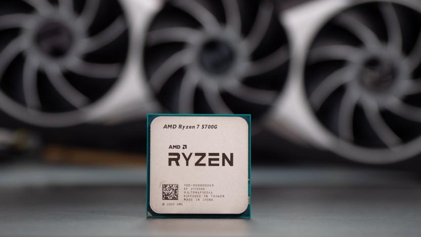 Ryzen 7 5700G mit Radeon RX 6900 XT im Hintergrund