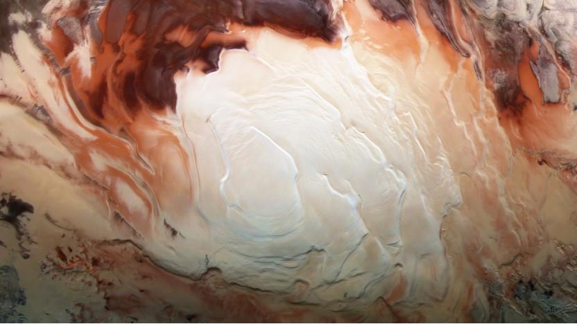 Ein Bild der südlichen Polkappe von Mars Express