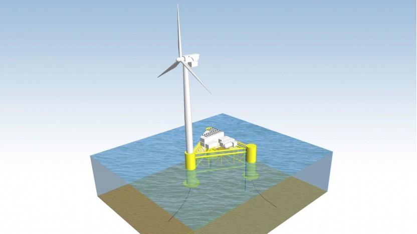 So könnte eine schwimmende Windkraftanlage mit Elektrolyseur aussehen.