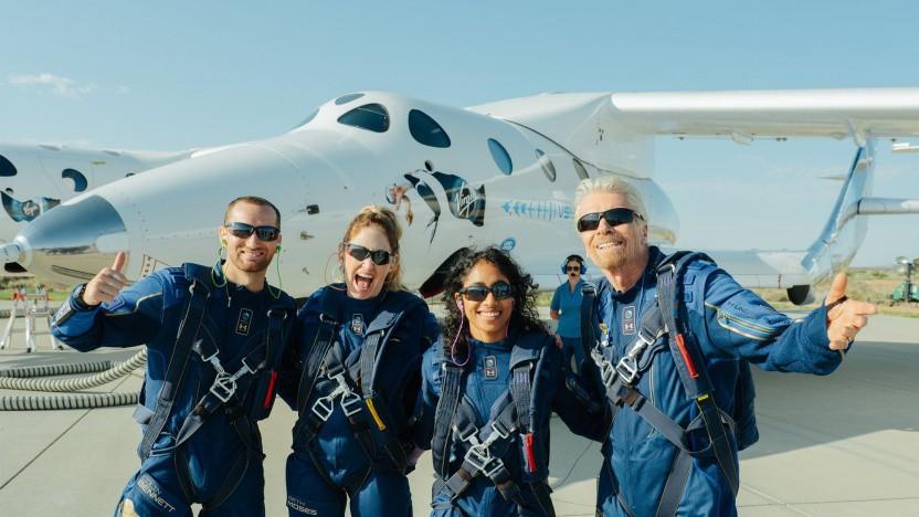 Richard Branson (r.) nach dem erfolgreichen Flug von Spaceship Two