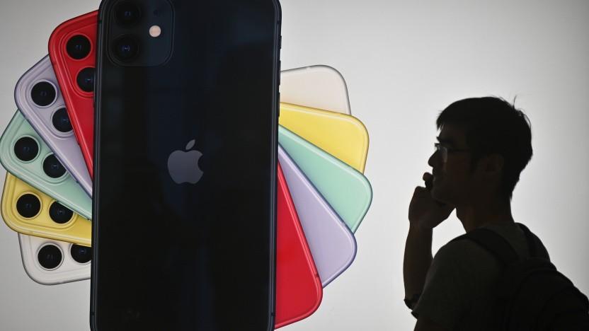 Kunde vor Apple Store in Hongkong