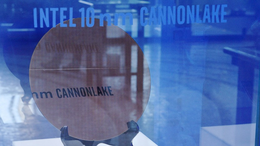 Ein Wafer mit 10-nm-Cannon-Lake-Chips