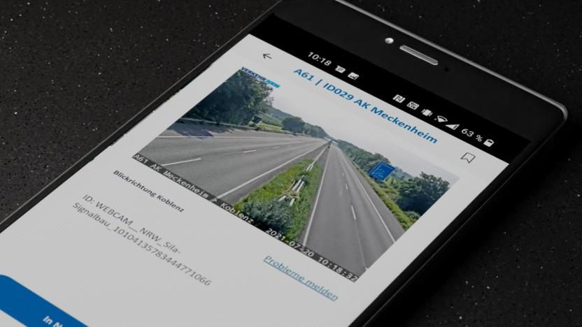 Die Autobahn-App auf einem Android-Smartphone