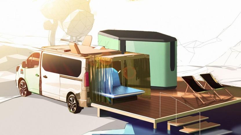 So stellt sich Renault das Campen mit einem sogenannten Logistikmodul vor.